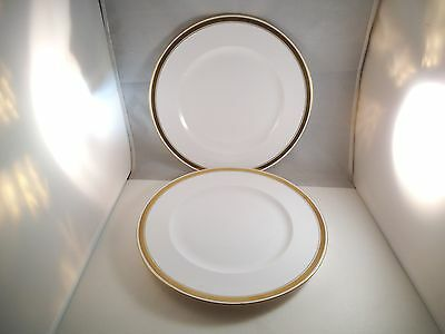 Lovely Shelley Fine Bone China Elegant Pair of Dinner Plates Gold Rim