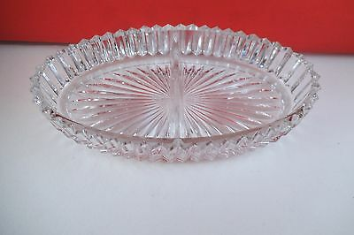Vintage Heisey Clear Glass Ridgeleigh Oval Divided Relish Dish