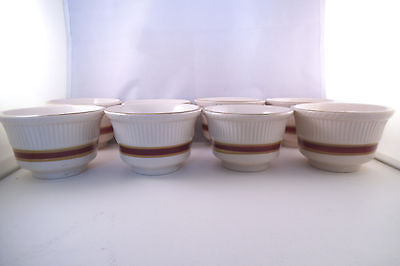 Vintage Shenango China Set of 8 Ramekin Custard Cups Red Gold Stripe