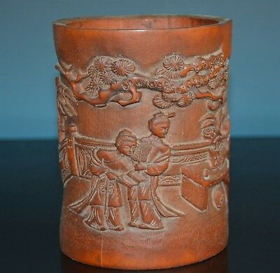 Fine Chinese Bamboo Brush Pot Well Carved Rare T7163