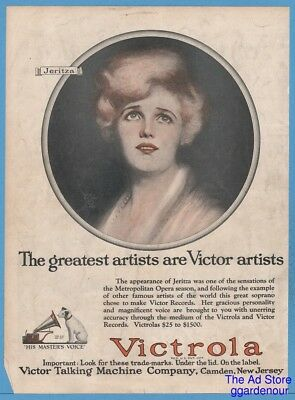 1922 Victor Talking Machine RCA Victrola Phonograph Maria Jeritza Nipper Ad
