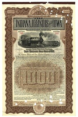 [65109] 1950 Indiana, Illinois & Iowa First Mortgage Gold Bond ($1000) Redeemed