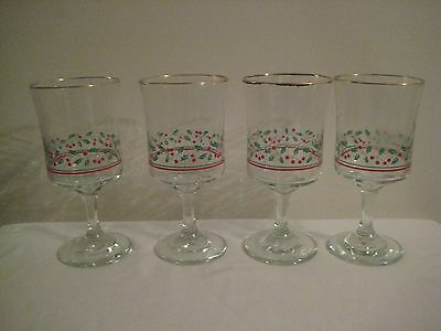 Vintage Lot of 4 1986 Arby's Christmas Holly & Berry Wine Glass with Gold Trim
