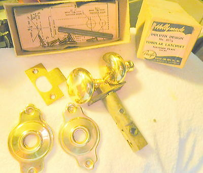 Vintage Holly Made 85 1/4 Polished Brass door knob set USA,Los Angeles CA ,NOS