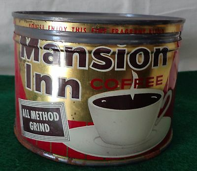 Vintage, MANSION INN, One Pound Coffee Can, with Cover