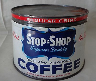 Vintage, STOP & SHOP, One Pound Coffee Can, with Cover
