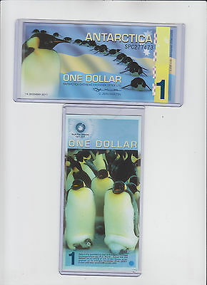 ANTARCTICA 1 ONE DOLLAR Polymer UNC 2011 Note w/toploader FREE USA SHIP Penguins