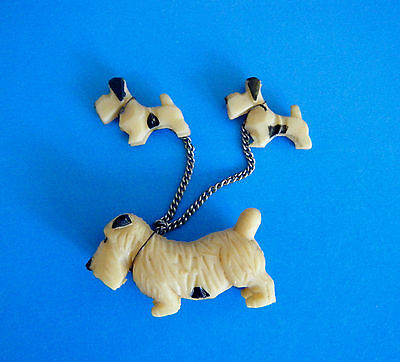3 Terriers Dog Family Mother & 2 Babies on Chain Leash Vintage Japan 1940's
