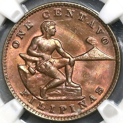 1930-M NGC MS 65 RB Philippines 1 Centavo Coin US Administration (17022202C)