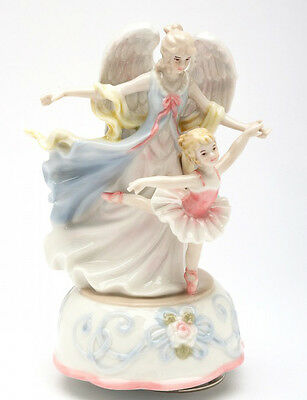 ♫ MUSIC BOX Porcelain Figurine ANGEL DANCE WITH BALLERINA GIRL Musical Figure