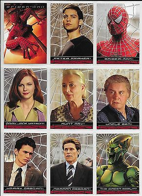 Topps SPIDERMAN MOVIE 2002 Complete 100 Card BASE Set + PROMO P1,P2 + 2 Wrapper