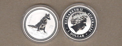 2006 Australia Lunar Series One Ounce Silver Year Of The Dog Coin
