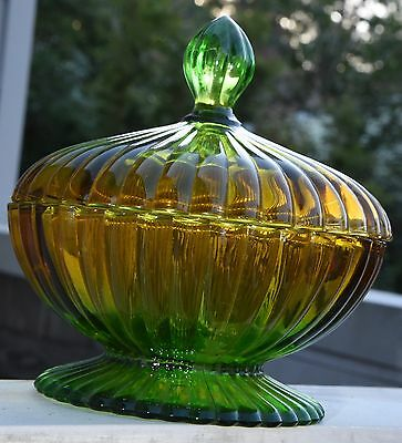 Vintage Pressed Glass Green Amber Hombre Glass Candy Dish Lidded Ribbed Round