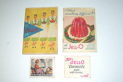 Jell-O Cookbooks Package Inserts Lot of 4 Vintage 1920s-1930s Jello Recipes