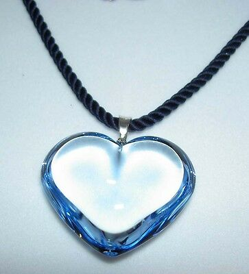 Authentic BACCARAT Aqua Lite Blue Crystal Glamour Heart Sterling Silver Necklace