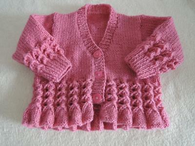 Baby Cardigan Jacket Unique Hand Knitted 16 Inch 0-3 Months