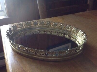 Small Vintage Oval Mirrored Vanity/Dresser Tray Gold Filigree Metal Frame