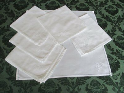 Dinner Napkins-White Cotton-Hand Embroidered-Set Of 6