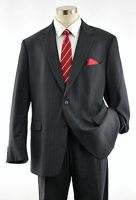 Exquisite BROOKS BROTHERS 346 Men's Charcoal Gray Pinstripe 2-Btn Wool Suit 46L