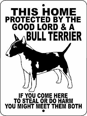 "BULL TERRIER DOG SIGN, GUARD DOG,9""x12"" Aluminum Sign, Decal, Dogs, GLBT"