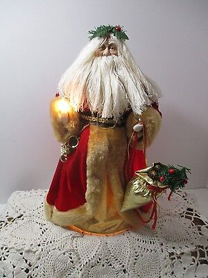 VINTAGE EARLY 1990's  Old World Santa Clause Lighted Christmas Tree Topper 12""