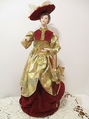 """Victorian Lady Christmas Tree Topper/Table Ornament -15"""" TALL"""