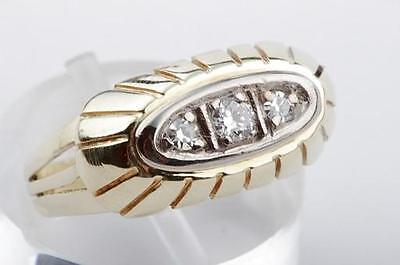 Diamant Brillant Ring antik in 585 er 14kt Gelbgold mit Diamanten in Gr51