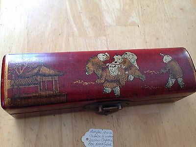 Antique Chinese Beech Wooden Leather Chopstick box  1850 -1880 ??