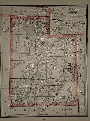 Vintage 1887 ~ UTAH TERRITORY ~ Old Antique Original Atlas Map 87/072317