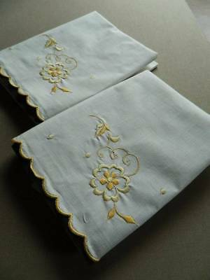 Pair vintage UNUSED white cotton pillowcases - yellow embroider & scallop hems