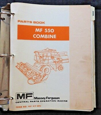 Genuine Massey Ferguson Mf 550 Mf550 Combine Parts Catalog Manual Very Good