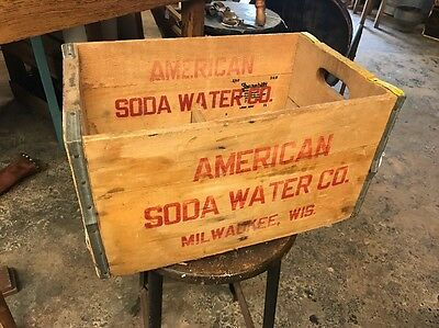 Vintage American Soda Water Company Milwaukee WI Wood Box-Crate-Case
