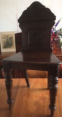 Victorian Mahogany Hall Chair Carved Back Very Nice Solid Pretty & Simple GL14