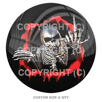 Premium Glossy Round 3D Epoxy Domed Decal Indoor & Outdoor - Skeleton Red Rip