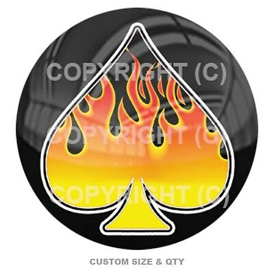 Premium Glossy Round 3D Epoxy Domed Decal Indoor & Outdoor - Rod Flame Spade 1