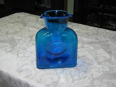 Mid Century Blenko Blue Double Spout Water Pitcher Decanter