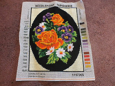 "Collectible Needlepoint Sampler ""Flowers"" 9.5 x 7 1/8"" Ready to Frame WOW"