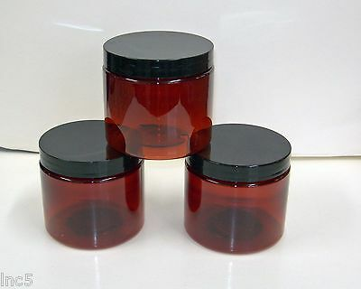 1oz to 16 oz  Amber PET Straight Sided Plastic  Jars w/Smooth Plastic Black Cap