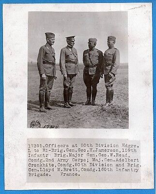WW1 General Cronkhite & Officers of 80th Division at HQ 8x10 Original News Photo