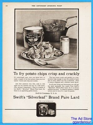 1922 Cooking Potato Chips - Swift Silverleaf Lard Vintage 1920s Kitchen Decor Ad