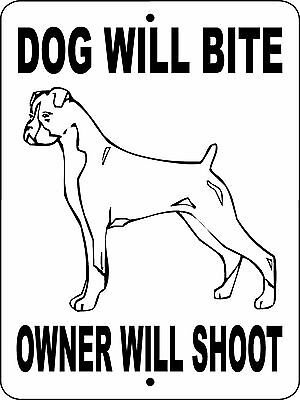 "BOXER DOG SIGN, GUARD DOG, ALUMINUM 9""x12"",GUARD DOG,BOXERS Sign Decal DWBOWSBX"