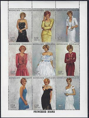 TOGO 1997 PRINCESS DIANE IN DESIGNER GOWNS 9 SOUVENIR SHEETS & SHEET OF 9 Sc