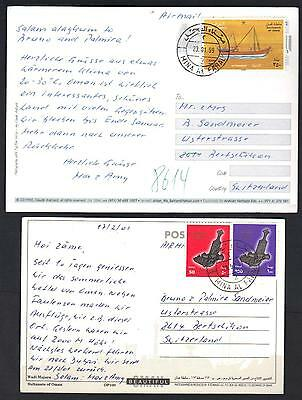 Oman 1999 Two Mina Al Fahal Post Cards To Switzerland