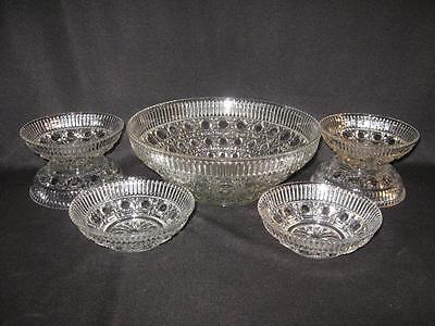 FEDERAL GLASS WINDSOR CLEAR SEVEN PIECE BOWL SET - MASTER BOWL w/6 BERRY - SAUCE
