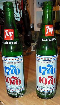 Two 7 UP Commemorative 1776 1976 Bottles