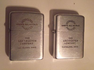 Vintage pair of Zippos from The Lectroetch co