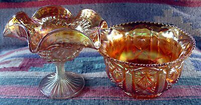 2 Antique Imperial Carnival Glass Grape Pattern Compote & Star And File Bowl