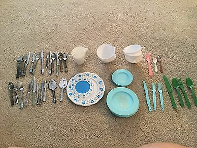 Vintage Child Dishes Silverware Turquoise White Green Pink 50 Pieces Mismatched