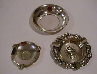 2 Ecuador Sterling Ash Trays  w/ Coins 1928 & 1 Sterling Bowl 150.g use or scrap