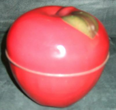 Red Apple Metal Tin Storage Canister